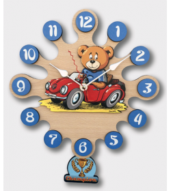 Wall clock with pendulum-Teddy with car