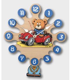 Horloge murale avec pendule-Ours avec voiture