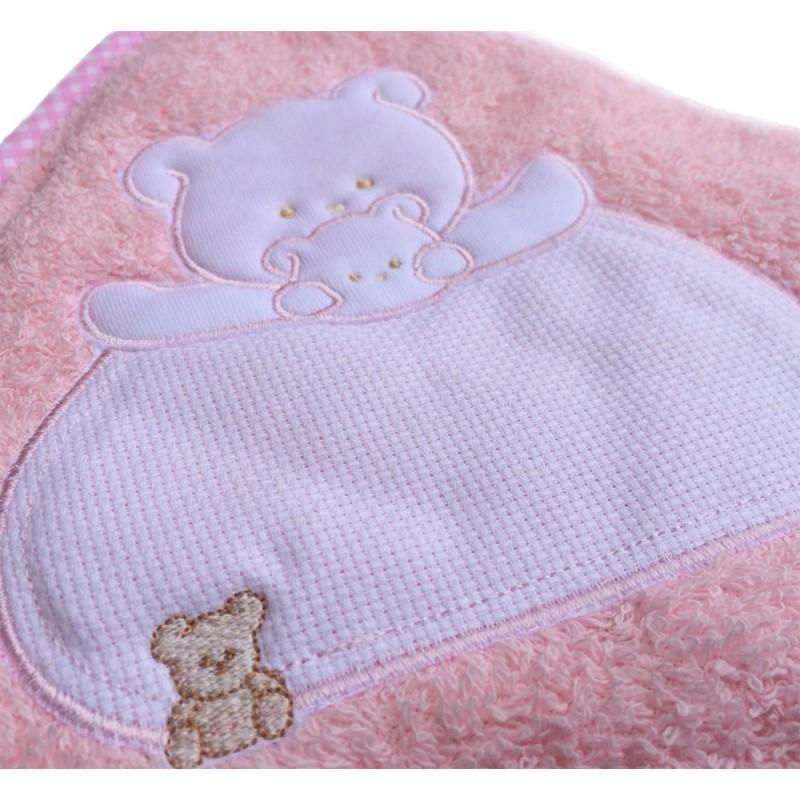 Capa de ba/ño para bebe BORDADA con nombre Capa toalla regalo recien nacido Rosa modelo coronas