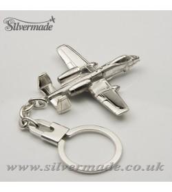 Sterling silver airplane keychain A-10 THUNDERBOLT (WARTHOG)