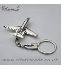 Llavero de plata de ley avión Hawker