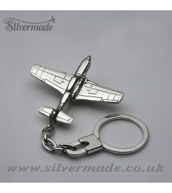 Sterling silver airplane keychain P-51 Mustang