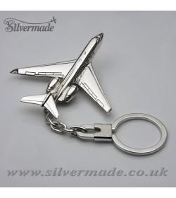 Sterling silver airplane keychain Gulfstream