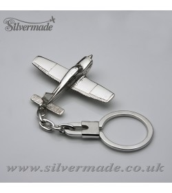 Sterling silver airplane keychain Piper