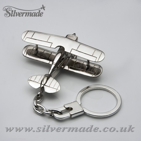 Sterling silver airplane keychain Pitts