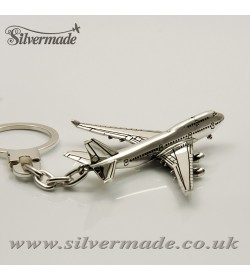 Sterling silver airplane keychain Boeing 747