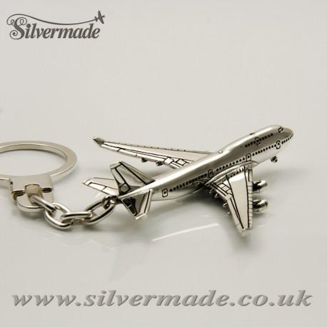 Sterling silver airplane keychain Boeing 747