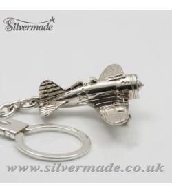 Sterling silver airplane keychain Polikarpov I-16