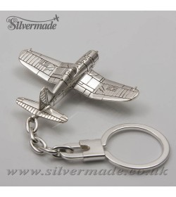 Sterling silver airplane keychain F4U-Corsair