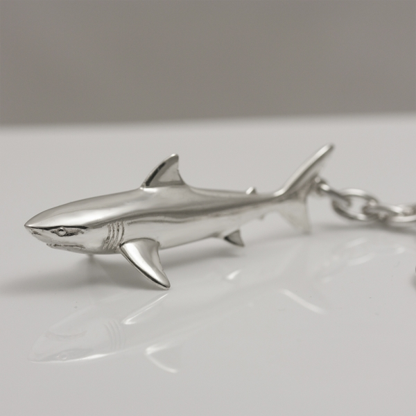 Sterling silver keychain Shark