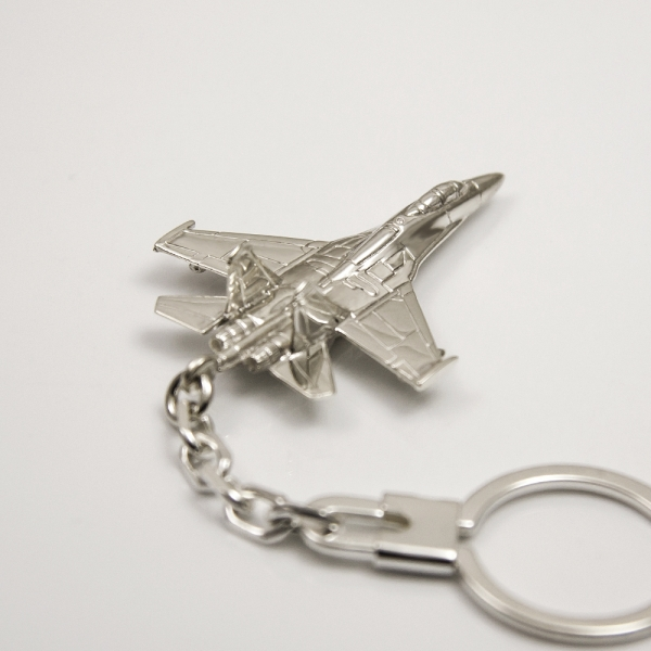 Sterling silver airplane keychain SU-27