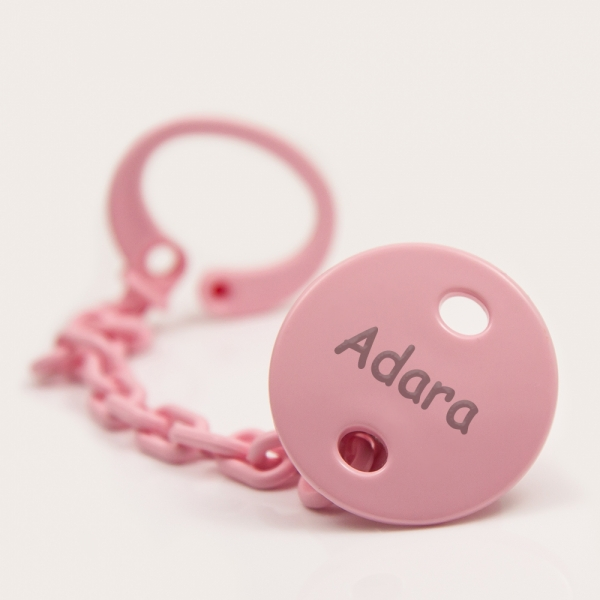 Personalized Pink Pacifier Clip with Name