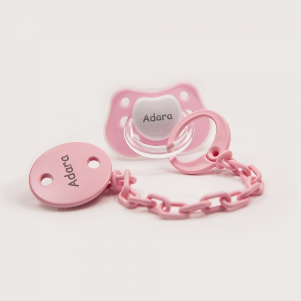 Personalized Pacifier with Clip - Dummie - Pink