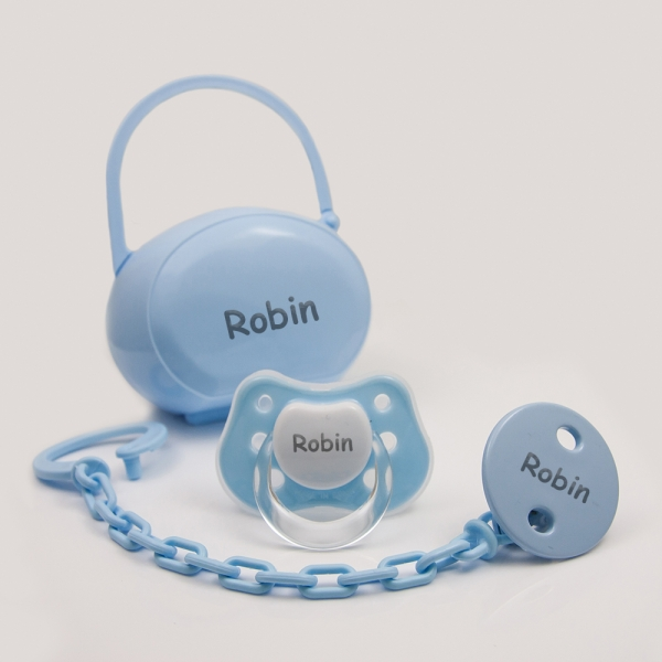 Personalized Pacifier with Clip and Case - Dummie - Blue