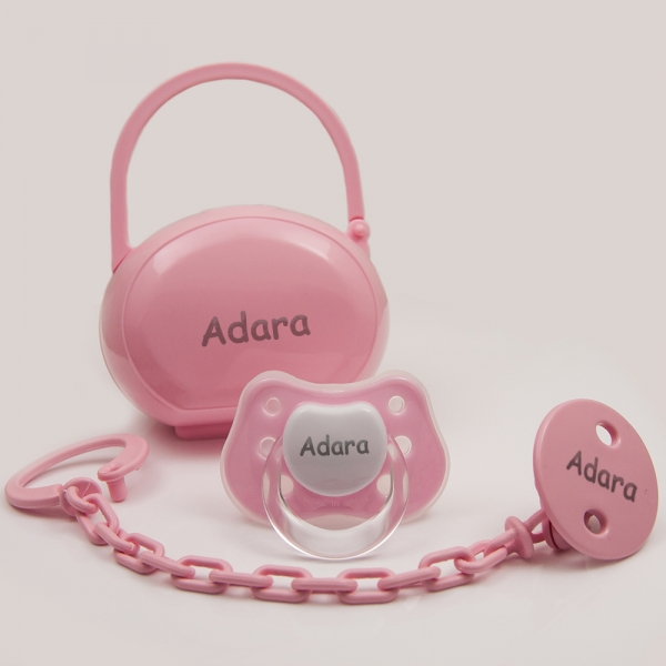 Personalized Pacifier with Clip and Case - Dummie - Rose