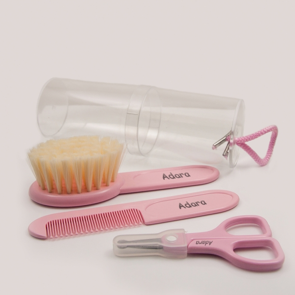 Pink Set Comb, Brush and Scissors with Name