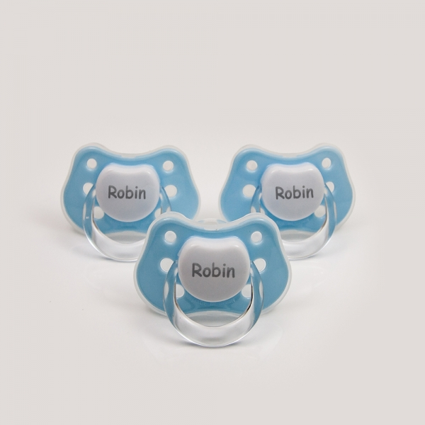 3 x Blue Personalized Pacifiers with Name