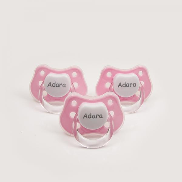 3 Chupetes Personalizados con Nombre Rosa