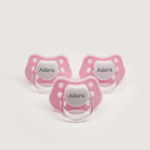 3 x Pink Personalized Pacifiers with Name