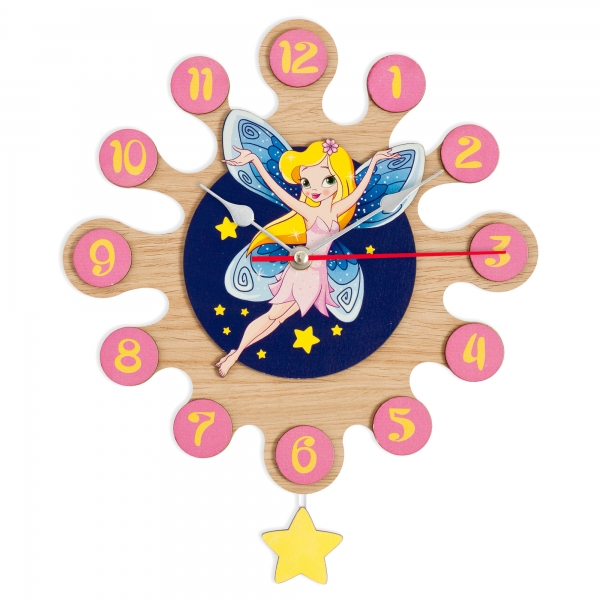 Gift for kids - Wall clock with pendulum - Fairy