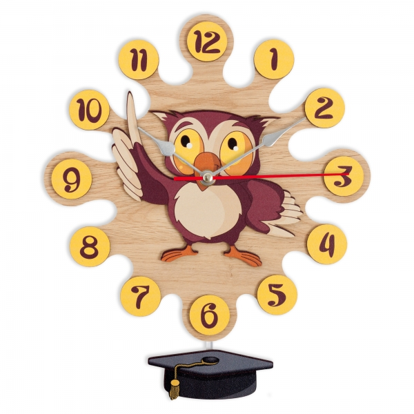 Gift for kids - Wall clock with pendulum - Owl