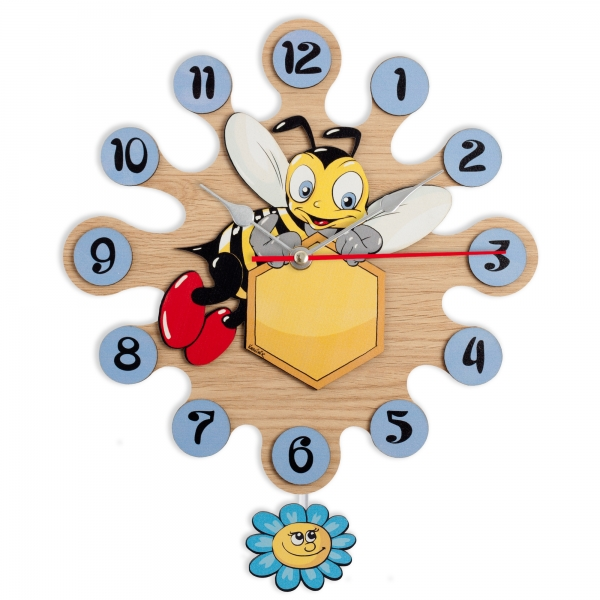 Gift for kids - Wall clock with pendulum - Bee