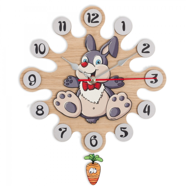 Gift for kids - Wall clock with pendulum - Rabbit