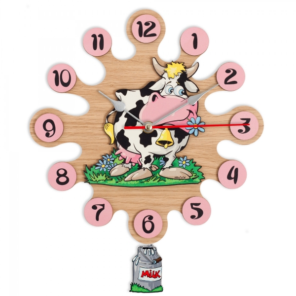 Gift for kids-Wall clock with pendulum-Cow