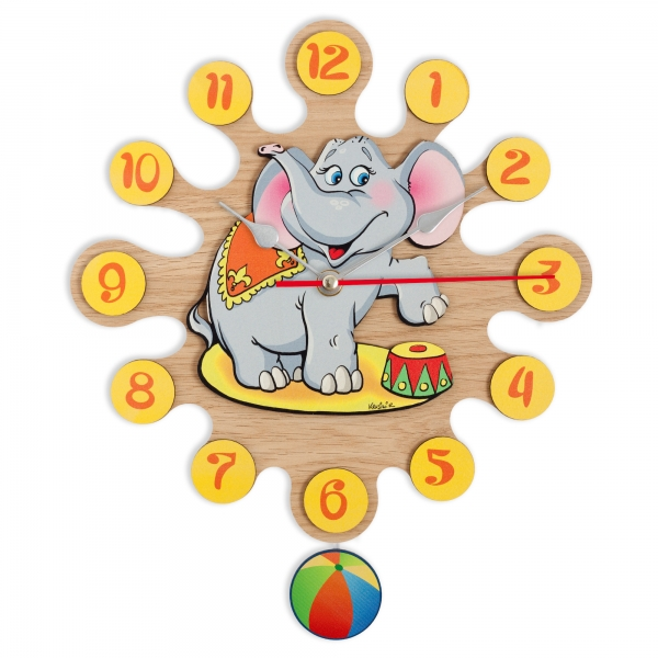 Wall clock with pendulum-Elephant