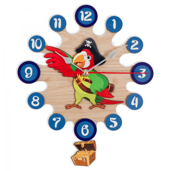 Gift for kids-Wall clock with pendulum-Pirate