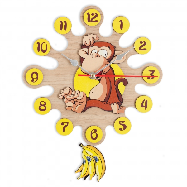 Gift for kids-Wall clock with pendulum-Monkey