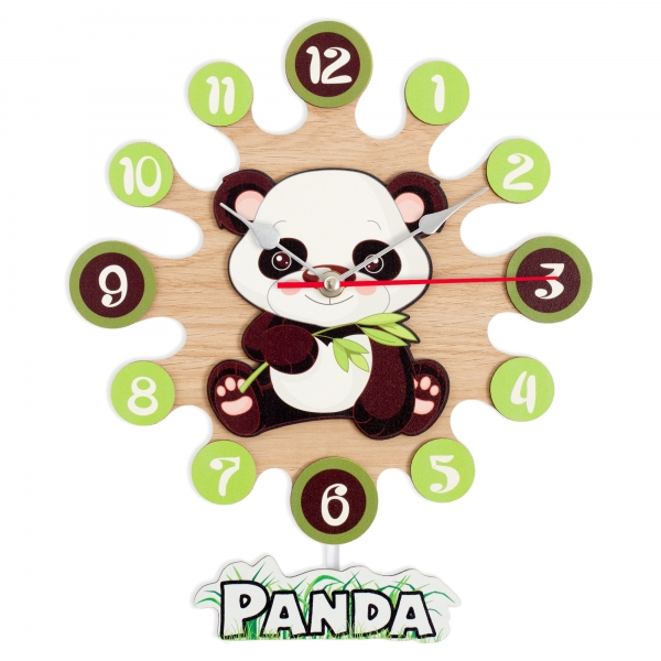 Wall clock with pendulum-Panda