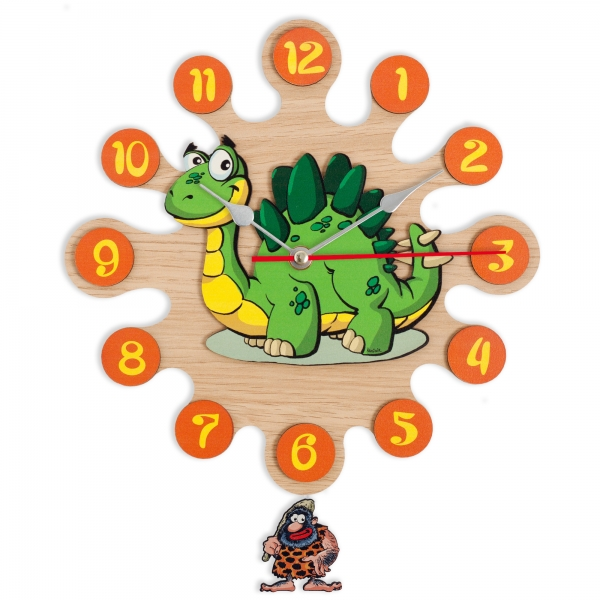 Wall clock with pendulum-Dinosaur