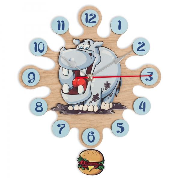 Wall clock with pendulum-Hippo