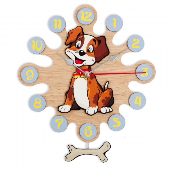 Gift for kids-Wall clock with pendulum-Dog