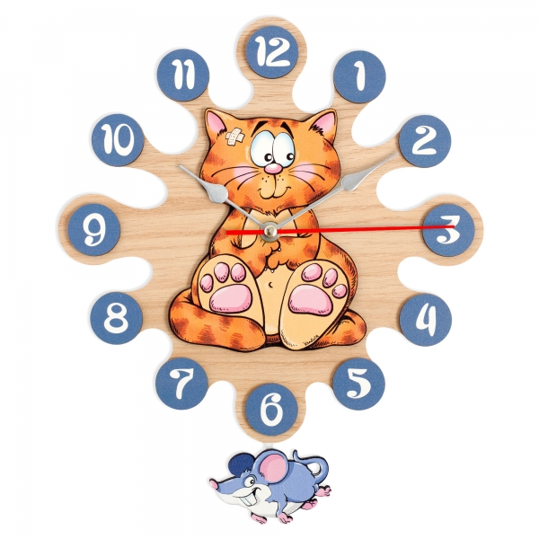 Gift for kids-Wall clock with pendulum-Cat