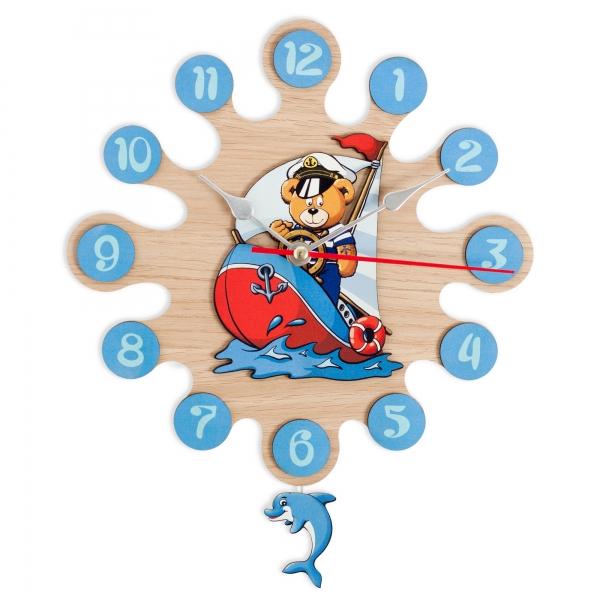 Regalos Niños-Reloj de Pared con Pendulo Barco-Capitan