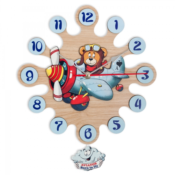 Gift for kids-Wall clock with pendulum Airplane pilot