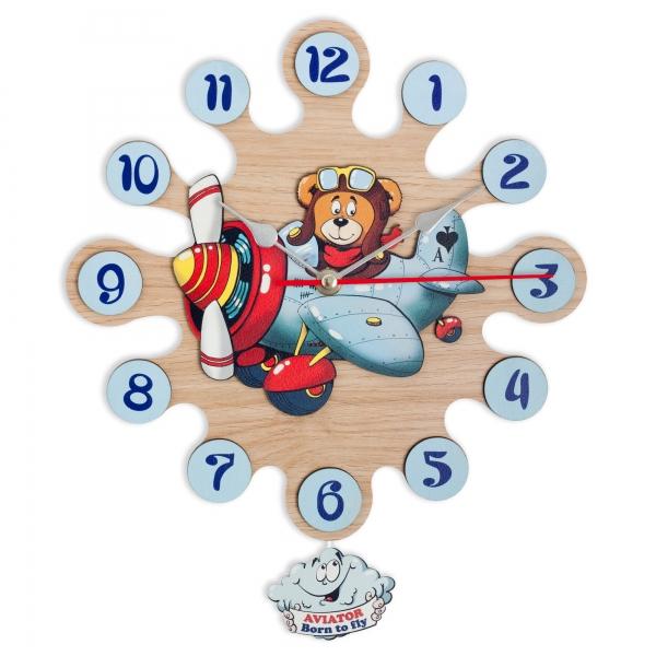 Regalos Niños-Reloj de Pared con Pendulo Avión-Piloto