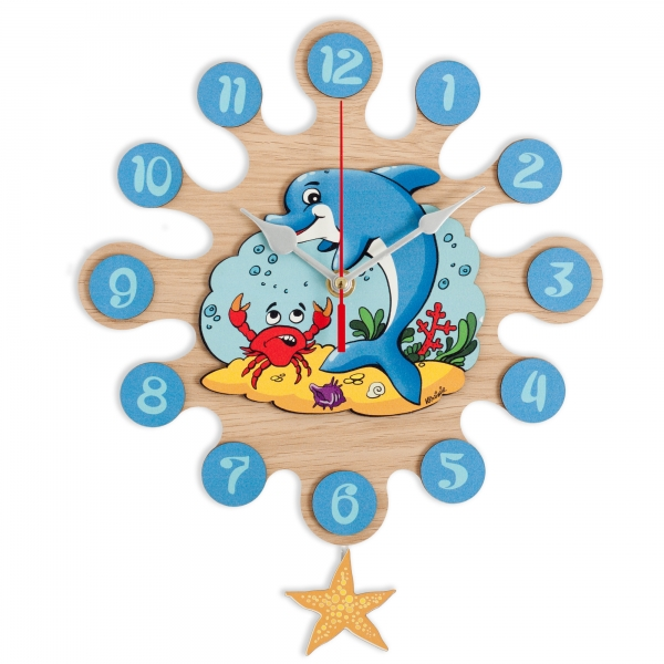 Gift for kids-Wall clock with pendulum Dolphin